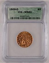 1909-D $5 GOLD INDIAN ICG MS-63 PQ COIN