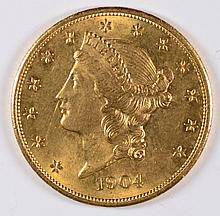 1904 $20 GOLD LIBERTY GEM BU EXCELLENT EYE APPEAL