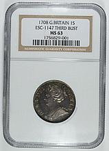 1708 GREAT BRITAIN QUEEN ANN SHILLING ESC-1147 THIRD BUST NGC MS-63