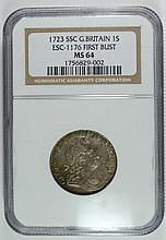 1723 GREAT BRITAIN SHILLING ESC -1176 FIRST BUST NGC MS-64