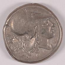 ANCIENT GREEK 300 - 350 BC CORINTH SILVER PEGASUS REV. NICE VF