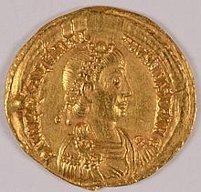 ROMAN IMPERIAL VALENTINIAN III 425-435 GOLD SOLIDUS AU/UNC