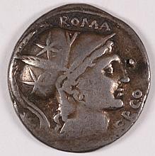 ROMAN REPUBLIC DENARIUS 109 BC LUTATIUS CERCO XF