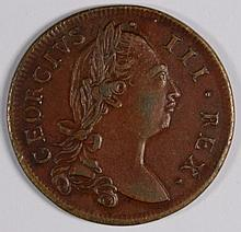 1775 IRELAND HALF PENNY SCARCE CHOCOLATE BROWN AU+