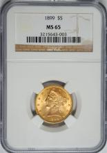 1899 $5 GOLD LIBERTY NGC MS-65