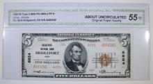 1929 $5 TYPE 2 NATIONAL CURRENCY CH. 6624 BRIDGEPORT NAT'L BANK OHIO CGA 55-OPQ