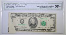 1990 $20 FEDERAL RESERVE NOTE CGA 58-OPQ  DRAMATIC BUTTERFLY FOLD ERROR