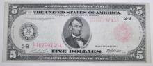 1914 $5 FEDERAL RESERVE NOTE #B16799745A VF  SCARCE