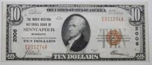 1929 $10 TYPE 1 NATIONAL CURRENCY NORTH WESTERN NAT'L BK OF MINNEAPOLIS CH.XF/AU