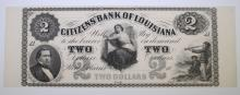 1860's $2 CITIZENS' BANK OF LOUISIANA GEM CU  SHEET SELVAGE ON EACH SIDE