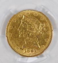 1881 $5 GOLD LIBERTY HEAD - AU/BU