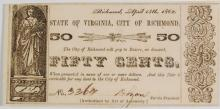 1862 STATE OF VIRGINIA, CITY OF RICHMOND CHOICE CU 50-CENT OBSOLETE NOTE