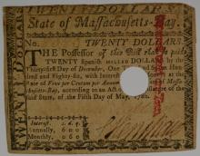 1786 MASSACHUSETTS COLONIAL NOTE, CANCELLED & CASHED IN, HENCE THE HOLE