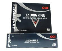 2 boxes of 300 rounds of CCI 22LR Copper-Plated Ro
