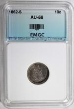 1862-S SEATED LIBERTY DIME, EMGC AU/BU