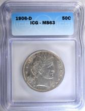 1906-D BARBER HALF DOLLAR, ICG MS-63
