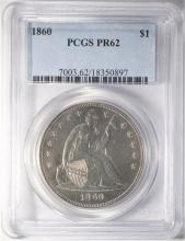 1860 SEATED PROOF DOLLAR, PCGS PF-62
