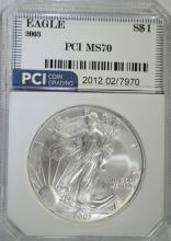 2003 AMERICAN SILVER EAGLE PCI PERFECT GEM BU