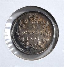 1901 SILVER 5 CENTS CANADA  BU