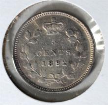 1892 SILVER 5 CENTS CANADA  CH.BU