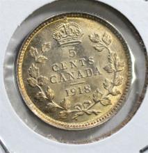 1918 SILVER 5 CENTS CANADA  GEM BU