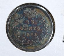 1871 SILVER 10 CENTS CANADA  CH.AU