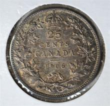 1906 SILVER 25 CENTS CANADA BU