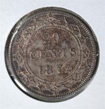 1872 H SILVER 20 CENTS CANADA (NEWFOUNDLAND) CH.BU