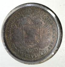 1893 SILVER 1 BOLIVAR VENEZUELA  CH.XF/AU