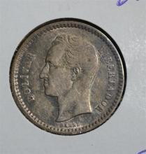 1921 SILVER 1/2 BOLIVAR VENEZUELA CH.AU