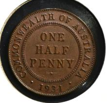 1931 ONE HALF PENNY AUSTRALIA BU BROWN