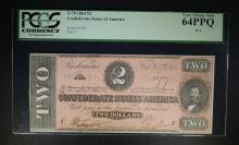 1864 $2 CONFEDERATE STATES OF AMERICA PCGS 64PPQ