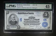 1902 PLAIN BACK $5 NATIONAL CURRENCY  PMG 45