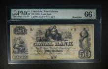 1850's $50 CANAL BANK PMG 66 EPQ