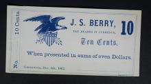1862 TEN CENTS GREENWICH, OHIO SCRIPT NOTE