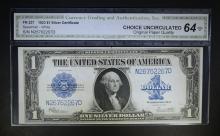 1923 $1 SILVER CERTIFICATE BLUE SEAL  CGA CU-OPQ