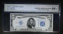 1934 $5 SILVER CERTIFICATE CGA CU-OPQ