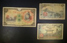 3 DIFFERENT WWII JAPANESE NOTES
