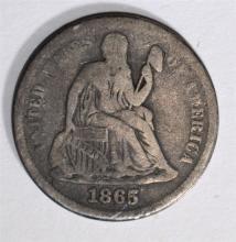 1865-S SEATED LIBERTY DIME, VF - RARE KEY DATE!