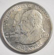 1923-S MONROE COMMEMORATIVE HALF DOLLAR, CH BU