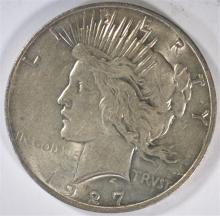 1927-D PEACE SILVER DOLLAR, AU/BU