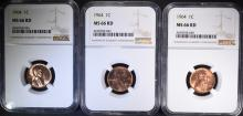 3 - 1964 LINCOLN CENTS NGC MS66 RD