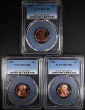 3-1995 LINCOLN CENTS, PCGS MS-67 RED