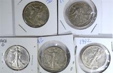 5 - AU/UNC WALKING LIBERTY HALF DOLLARS;
