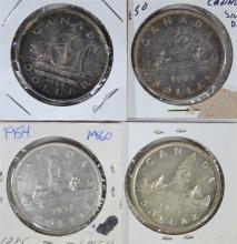 4 - CANADA SILVER DOLLARS: 1949, 1950,