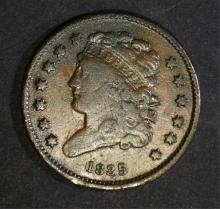 1835 HALF CENT, NICE VF/XF