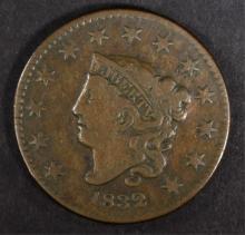 1832 LARGE CENT, VF