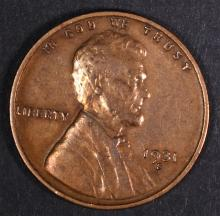 1931-S LINCOLN CENT, XF KEY COIN old cleaning