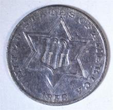 1858 THREE CENT SILVER XF