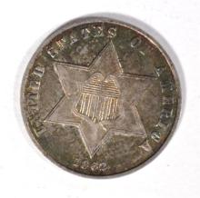 1862 3-CENT SILVER, AU NICE ORIGINAL TONING
